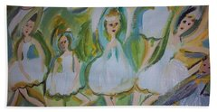 Beach Towel featuring the painting Lily Allegro Ballet by Judith Desrosiers