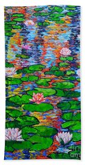 Lily Pond Colorful Reflections Beach Towel