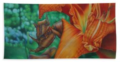 Beach Towel featuring the painting Lily's Evening by Pamela Clements