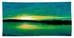 Lime Sunset Beach Towel