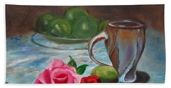Beach Towel featuring the painting Limes And Roses by Jenny Lee