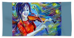 Beach Towel featuring the painting Lindsey Stirling Magic by Anna  Duyunova