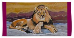Beach Towel featuring the painting Lion And Cub by Phyllis Kaltenbach