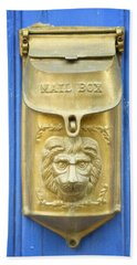 Lion Faced Antique Mailbox On Blue In Salida Colorado Beach Sheet by Mary Lee Dereske