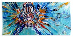 Lion Fish Blue Beach Towel