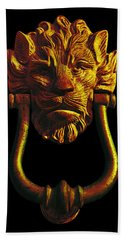 Lion Head Antique Door Knocker In Black And Gold Beach Towel by Jane McIlroy