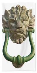 Lion Head Antique Door Knocker On White Beach Towel by Jane McIlroy