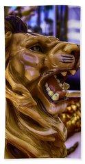 Lion Roaring Carrousel Ride Beach Towel