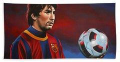 Lionel Messi 2 Beach Sheet by Paul Meijering