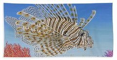 Lionfish And Coral Beach Towel by Jane Girardot