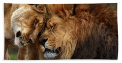 Lions In Love Beach Towel