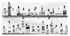 Liquor Bottles - Black And White Beach Towel