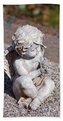 Little Angel With Bird In His Hand - Sculpture Beach Towel