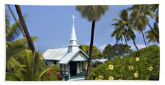 Little Blue Church Kona Beach Towel