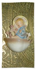 Newborn Boy In The Baptismal Font Sculpture Beach Sheet