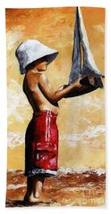 Little Boy In The Beach Beach Sheet by Emerico Imre Toth
