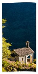 Little Chapel In Ticino With Beautiful Green Trees Beach Towel