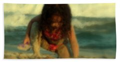 Beach Sheet featuring the photograph Little Girl At The Beach by Lydia Holly