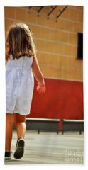 Little Girl In White Dress Beach Towel