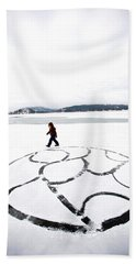 Little Girl Walking Around Large Design Beach Towel