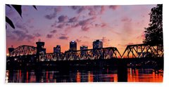 Beach Towel featuring the photograph Little Rock Bridge Sunset by Mitchell R Grosky