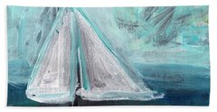 Little Sailboat- Expressionist Painting Beach Towel