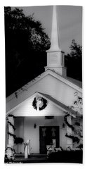 Little White Church Bw Beach Sheet by Debra Forand