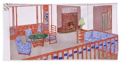 Living Room, Early 1900s Beach Towel