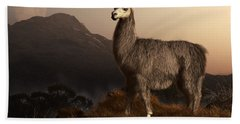 Llama Dawn Beach Sheet by Daniel Eskridge
