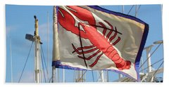 Lobster Flag At The Point Beach Sheet by Mary Carol Williams