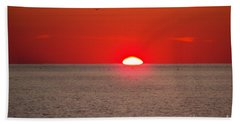 Lobster Pots Dance In The Sea  At Sunrise Beach Towel