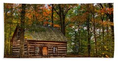 Log Cabin In Autumn Color Beach Sheet