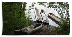 Beach Towel featuring the photograph Log Canoes by Kerri Mortenson