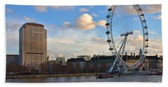 London Eye And Shell Building Beach Towel