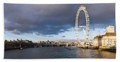 London Eye At South Bank, Thames River Beach Sheet by Panoramic Images