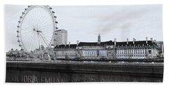 London Eye Mono Beach Towel by Jasna Buncic