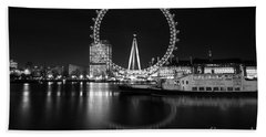 London Eye Mono Beach Towel by Matt Malloy
