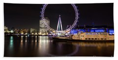 Beach Towel featuring the photograph London Eye Night by Matt Malloy