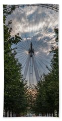 London Eye Vertical Panorama Beach Towel by Matt Malloy