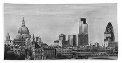 London Skyline Pencil Drawing Beach Towel