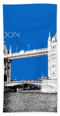 London Skyline Tower Bridge - Blue Beach Towel