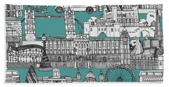 London Toile Blue Beach Towel by Sharon Turner