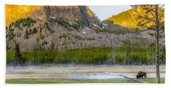 Lone Buffalo Yellowstone National Park Beach Towel
