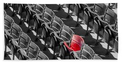 Lone Red Number 21 Fenway Park Bw Beach Towel