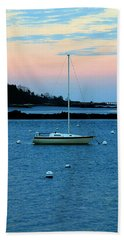 Lone Sailboat At York Maine Beach Towel by Denyse Duhaime