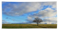 Lone Tree At Epsom Downs Uk Beach Sheet