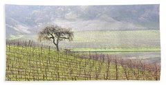 Lone Tree In The Vineyard Beach Sheet by AJ  Schibig