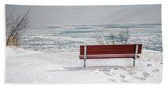 Lonely Bench Beach Sheet by Susan  McMenamin