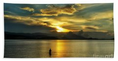 Lonely Fisherman Beach Sheet