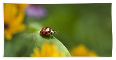 Lonely Ladybug Beach Towel by Christina Rollo